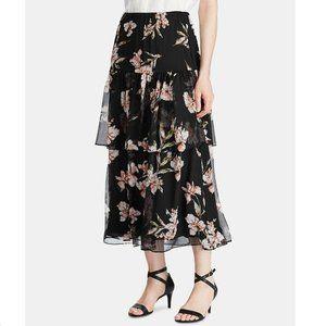 Ralph Lauren S Black Floral Tiered Skirt NWT Y56
